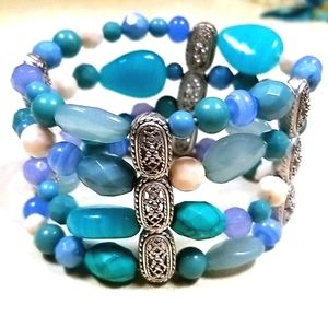 LC Turquoise Beaded Stretch Cuff Bracelet